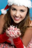 Christmas Candy Girl — Stock Photo
