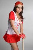 Meksykańskie baseball dziewczyna — Zdjęcie stockowe