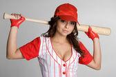 Kobieta baseball — Zdjęcie stockowe