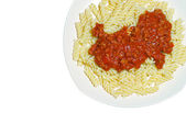 Isolated Fusilli Noodles with Meat Sauce — Stock Photo