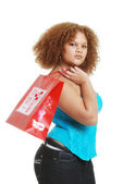 Young woman with a valentines present — Stock Photo