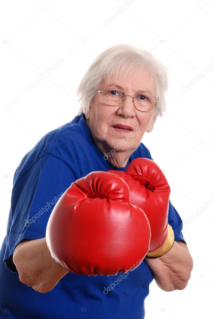 Isolated Senior woman boxing on a white background  Stock Photo #2374954