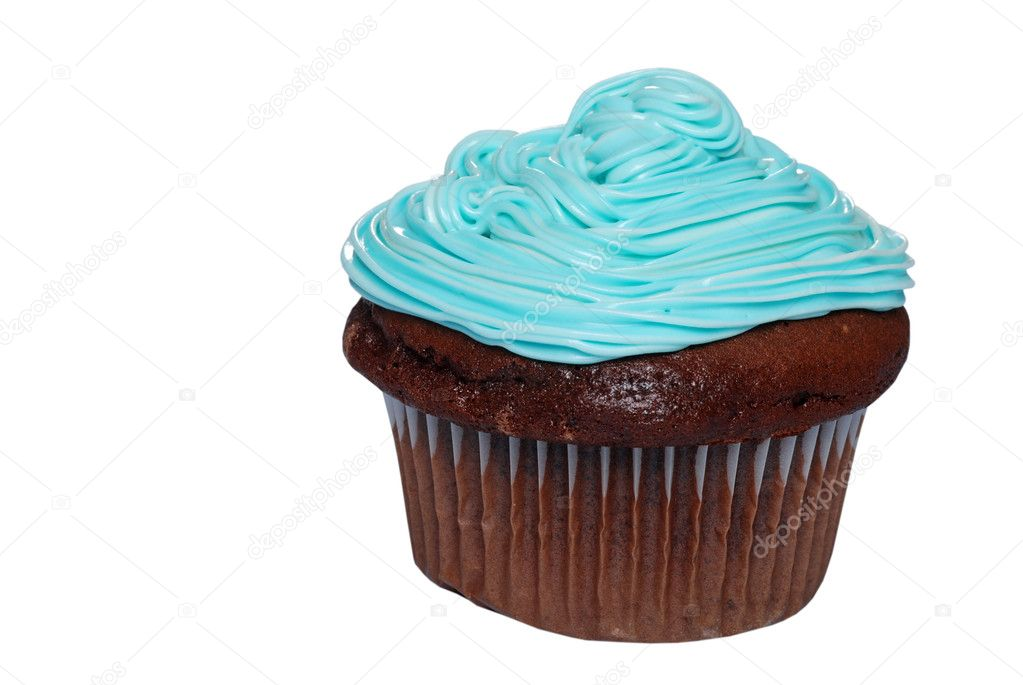 Isolated Chocolate cupcake with blue frosting on a white background — Stock Photo #2375442