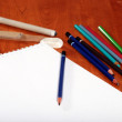 Art supplies focus on centre pencil — Stock Photo