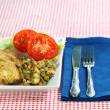 Baked chicken with stuffing — Stock Photo