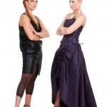 Two fashion models waiting — Stock Photo