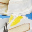 Vanilla lemon cake with a fork — Stock Photo