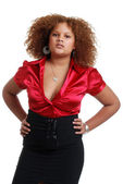 African woman wearing red top and black — Stock Photo
