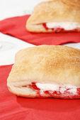 Apple raspberry turnover pastry — Stock Photo