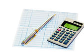 Bank Book with pen and calculator — Stock Photo