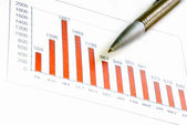 Bar Chart and Pen — Stock Photo
