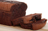 Belgium chocolate cake loaf focus on sli — Stock Photo