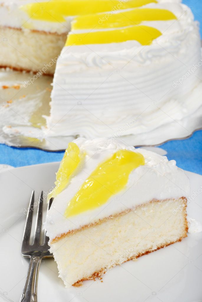 Closeup of Vanilla Lemon Cake With A Fork — Stock Photo #2385099