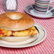 Bagel And Omelet Sandwich Close Up — Stock Photo