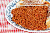 Baked beans and toast — Stock Photo