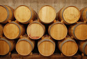 Barrels of wine in storage — Stock Photo