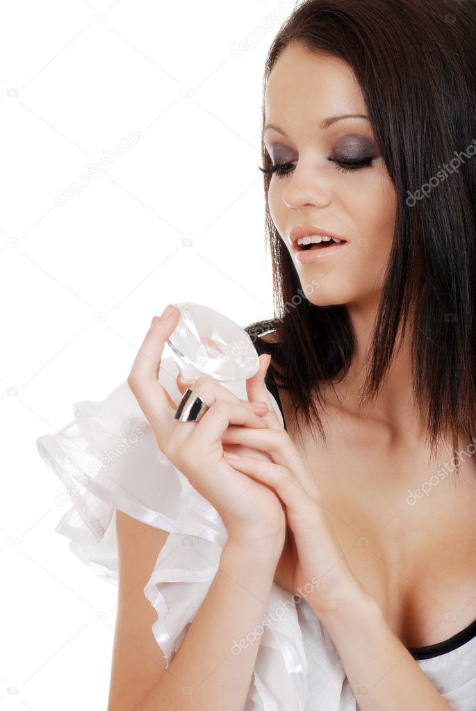 Isolated brunette woman playing a large diamond on white background — Stock Photo #2412541
