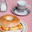 Bagel and Omelet sandwich - Stockfoto