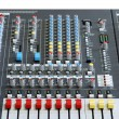 Sound board mixer with focus red slider — Stock Photo #2425873