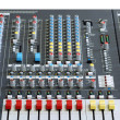 Sound board mixer with focus red slider — Stock Photo