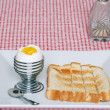 Soft boiled egg with sliced toast — Stock Photo