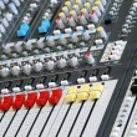 Sound board mixer focus red white slider — Stock Photo