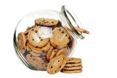 Chocolate chip cookies in a cookie jar — Stock Photo