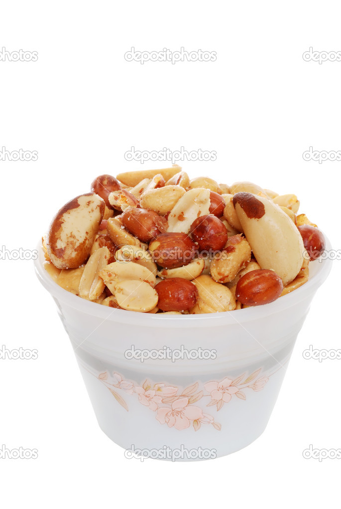 Isolated Mixed nuts in a bowl on white background  — Stock Photo #2426066