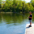 Child Fishing from a dock — Stock Photo