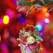Christmas drum decorated on a branch — Stock Photo