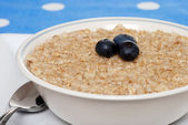 Closeup oatmeal with blueberries — Stock Photo