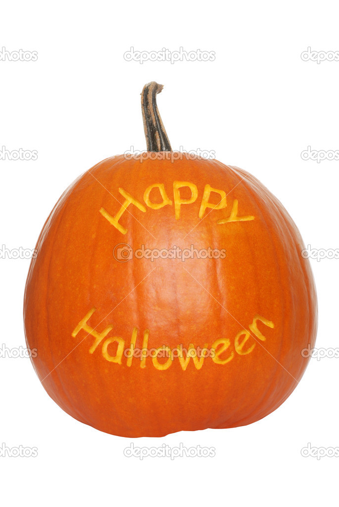 Isolated happy halloween pumpkin on white background  Stock Photo #2450212