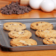 Fresh baked cookies on a cookie sheet — Stock Photo