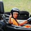 Young Boy in Go Cart - Stock Photo