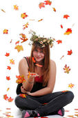 Teen flower girl with a crown — Stock Photo