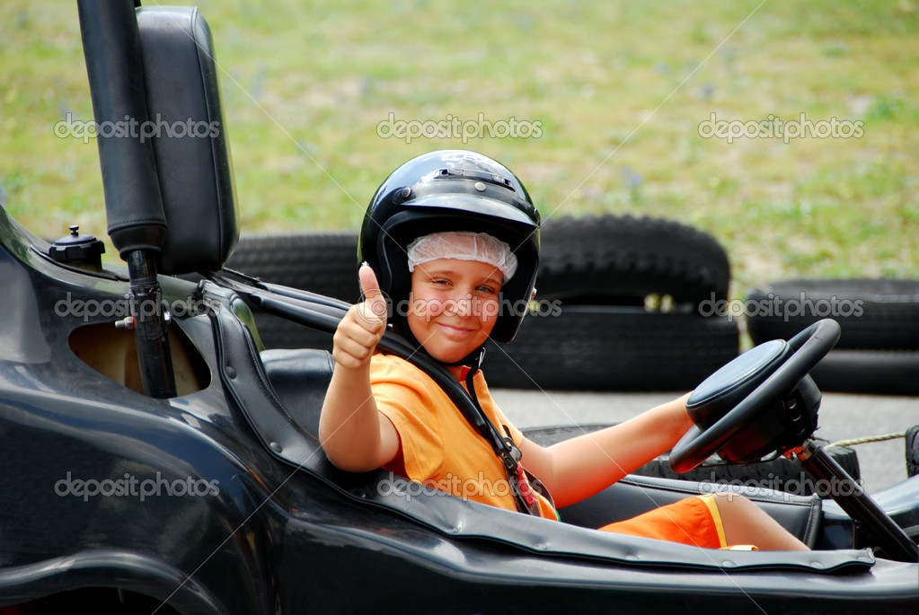 Young Boy in Go Cart giving a thumbs up — Stock Photo #2463098