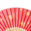 Asian red fan with yellow flowers — Stock Photo