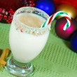 Stock Photo: Candy Cane Egg Nog