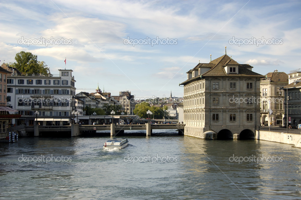 Water bus on the main river through Zurich — Stock Photo #2523563