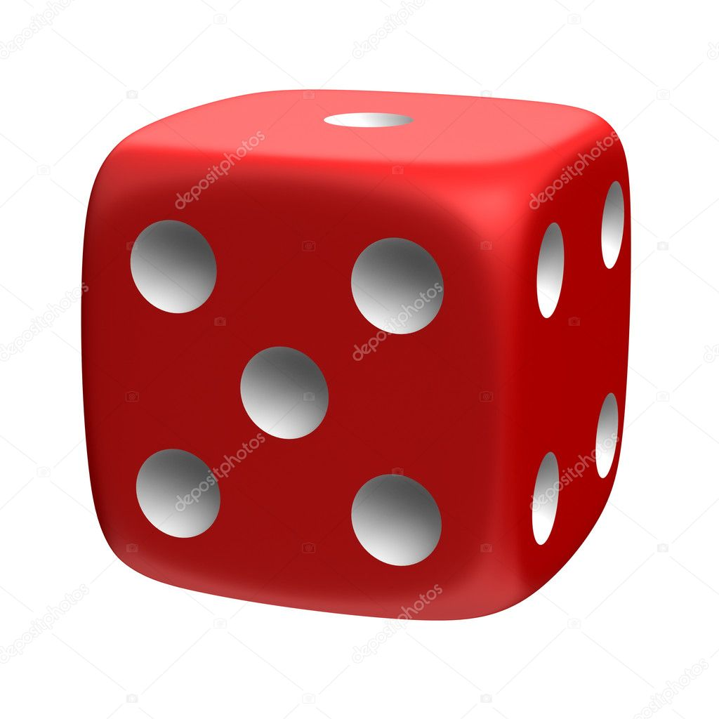 Three-dimensional red die isolated on white — Stock Photo #2525883
