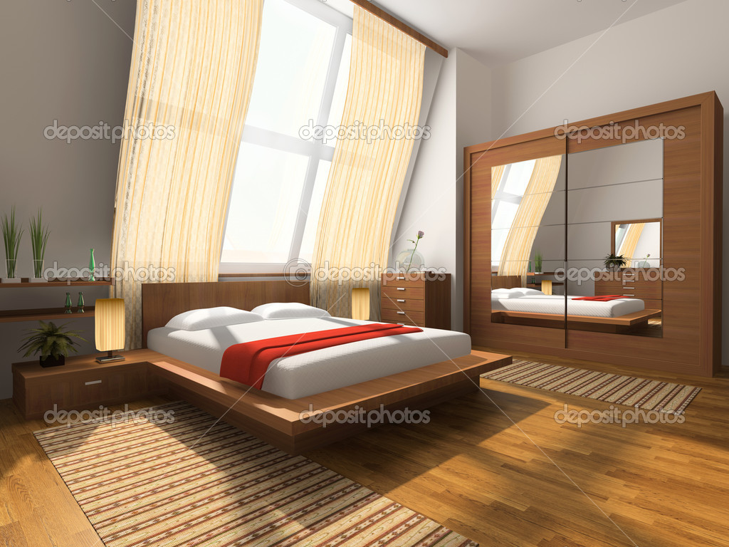 Modern interior in bedrooms with bed and closet — Stock Photo #2307766