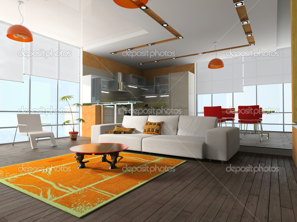 Interior of the room with furniture and kitchen garniture  Stock Photo #2401466