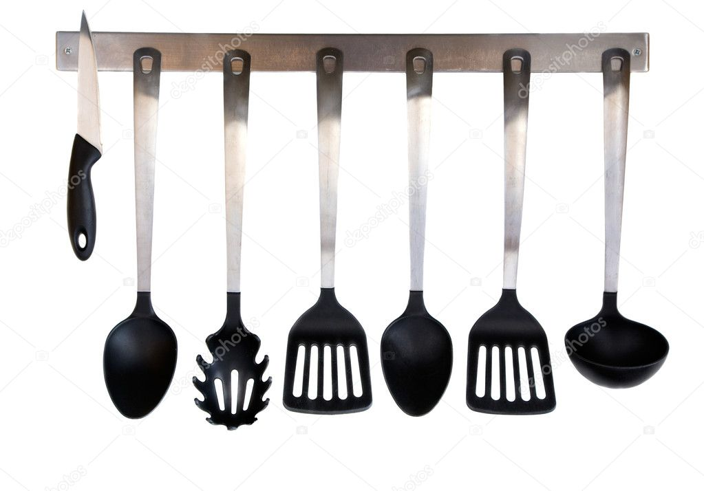 Steel and plastic kitchen utensils isolated on white background — Stock Photo #2395667