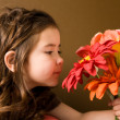 Little girl with flowers — Foto de Stock