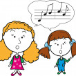 Stock Photo: Two girls singning