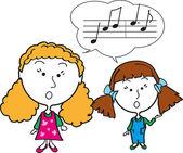 Two girls singning — Stock Photo