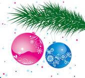 Christmas ball on tree — Stock Photo