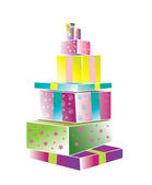 A heap of coloured gift boxes — Stock Photo