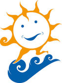 Sun smiling on wave — Stock Photo
