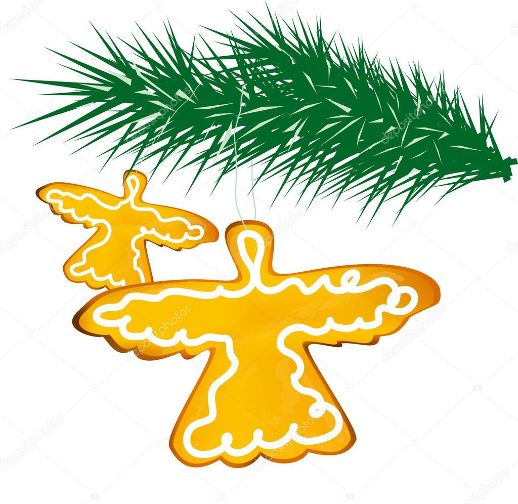 Two ginger angels on fir tree on white background — Stock Photo #2410207